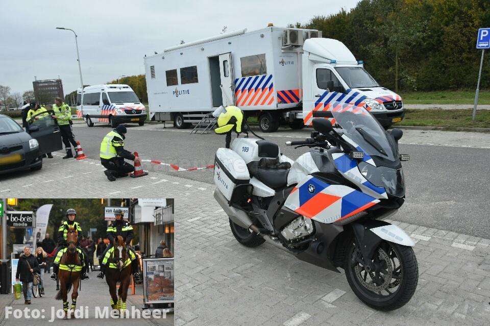 Politie op veel plaatsen in Barendrecht actief ivm grote actie, deze werd afgelopen dagen aangekondigd via matrixborden