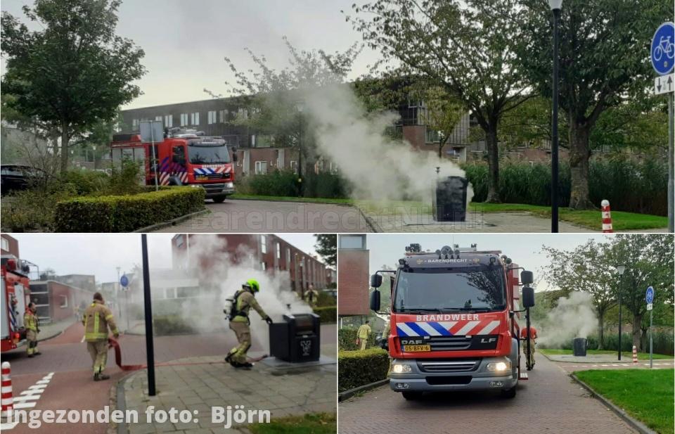 Brand in ondergrondse container aan het Zalmwater, brandweer heeft de brand geblust
