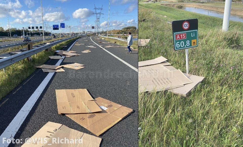 Grote hoeveelheid karton op de A15 thv het Kooiwalbos, verbindingsweg ri Europoort tijdelijk afgesloten