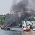 Opvarenden gered van in brand gevlogen plezierjacht op Oude Maas