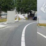 Betonblokken glijden van vrachtwagen op afrit A15 bij Barendrecht