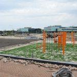 Calisthenics parcours, Cruyff Court en Jeu de boulesbaan in aanbouw op Campus Lagewei