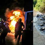 Afvalcontainers volledig in vlammen op aan de Marijkesingel bij Sporthal de Driesprong