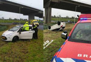 Beschonken bestuurder belandt met auto op zijn kop langs de snelweg A15 Vaanplein