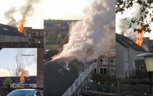 Uitslaande brand op zolder van woning aan de Kastanjehout