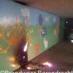 Kunstproject van tunneltje park Buitenoord in brand