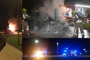 Auto tijdens het rijden in brand gevlogen aan de Leedeweg