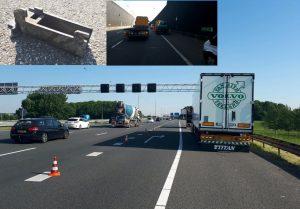 Personenauto's en vrachtwagen beschadigd door object op A29 bij Heinenoordtunnel