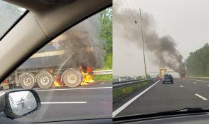 Remschijven van vrachtauto vliegen in brand op de A29