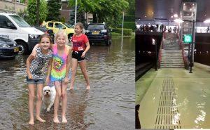 Foto's + video's: Wateroverlast én plezier in Barendrecht door hevige regenval, Station Barendrecht onder water