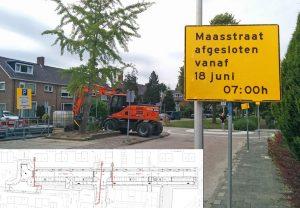 Afsluitingen en omleidingen in juni en juli door werkzaamheden in de Maasstraat