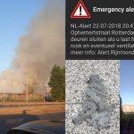 NLAlert vanwege grote brand in Rotterdam: Afvaldeeltjes dalen neer in Carnisselande