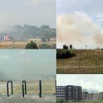 Broeibrand in grasveld bij parkeerplaats langs de Carnisserbaan