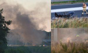 Volkswagen Kever in brand gevlogen op verbindingsweg van knooppunt Vaanplein
