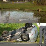 Auto 'kopje onder' in vijver GROEN Rotonde en auto op zijn kop in sloot langs Sweelincklaan