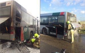 RET bus in brand op A29 vlak na Heinenoordtunnel
