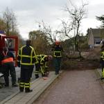 Brandweer verwijderd boom van fietspad op de Binnenlandsebaan in Barendrecht