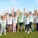 Groen gekleurde GreensColorRun voor kinderen, GreensParade 2014 (Barendrecht)
