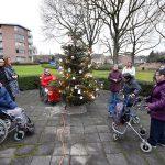 Kerstboom versierd en lichtjes ontstoken bij Borgstede