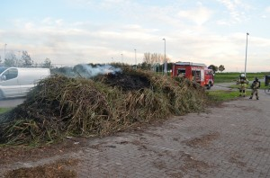 Brandje in berg riet langs de Zuider Carnisseweg