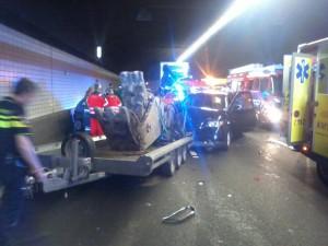 Afsluitingen: Aanrijding meerdere auto's en aanhanger in Heinenoordtunnel