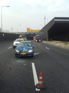 Ongeval bij uitgang Heinenoordtunnel: 6km file