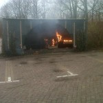 Brand in hangcontainer op de Bongerd in Barendrecht
